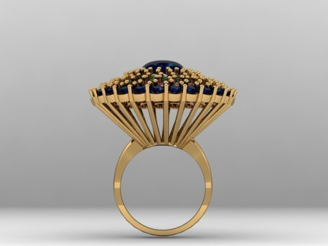 Cluster Stones Fashion Ring 3D Print 133910