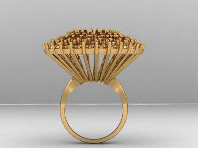 Cluster Stones Fashion Ring 3D Print 133911