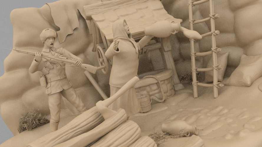 A Cruel Sodlier And An Rural Old Woman 3D Print 133915