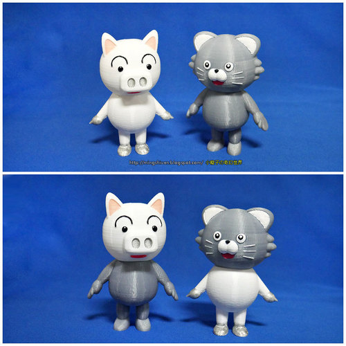 3DP Cute animal family 3D Print 134132