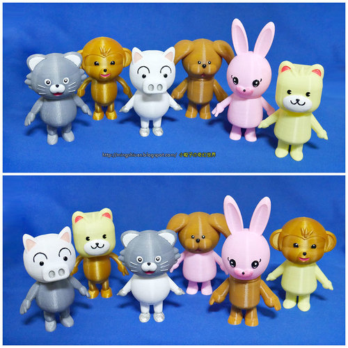 3DP Cute animal family 3D Print 134135