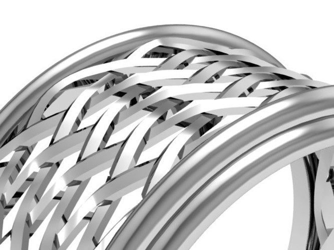 Celtic Weave/Braided Fashion Ring 3D Print 134274