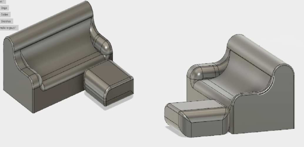 COUCH AND COFFEE TABLE 3D Print 135191