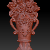 Small Vase with roses 3D Printing 135554
