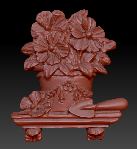 Pot of flowers on a shelf 3D Print 135561