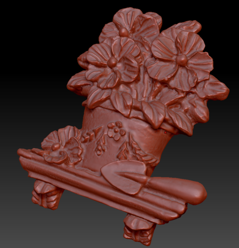 Pot of flowers on a shelf 3D Print 135562