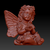 Small Fairy with a dove in his hands 3D Printing 135575
