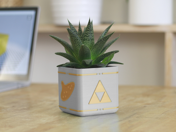Zelda Planter - Single / Dual Extrusion Minimal Planter 3D Print 136176