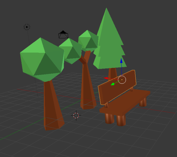 Low Poly Tree With Bench 3D Print 136189