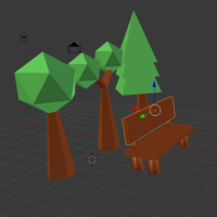 Small Low Poly Tree With Bench 3D Printing 136189