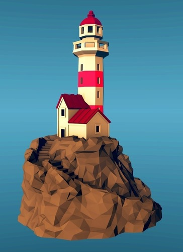 Lighthouse on a rock, low-poly edition 3D Print 136322