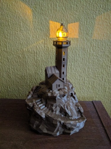 Lighthouse on a rock, low-poly edition 3D Print 136405