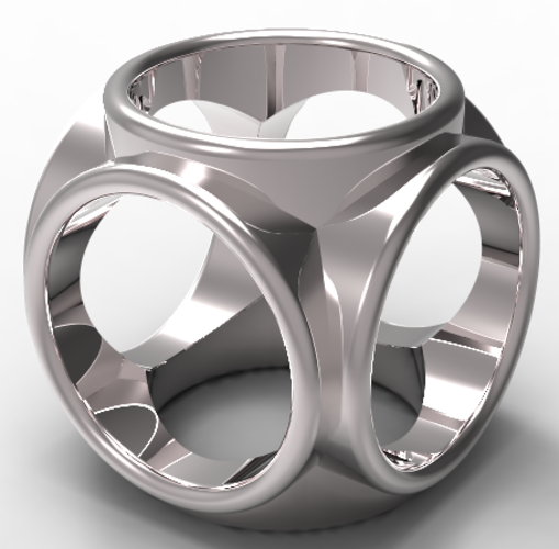 round cube men's ring 3D Print 136958