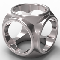 Small round cube men's ring 3D Printing 136958