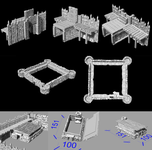 "Modular Outdoor Ruins for ""Stronghold on the Borderlands"" 3D Print 137109"