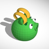Small Loki green piggy from angry birds 3D Printing 13714