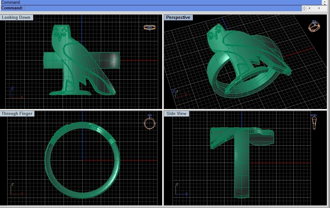3d Printed Ovo Ringancient Egyptian Symbol Owl Fashion Ring By