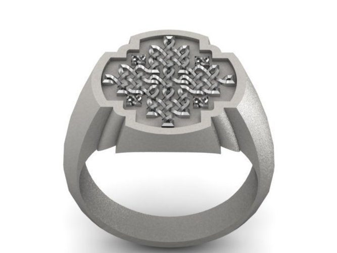Celtic Cross Signet Ring 3D Print 137318