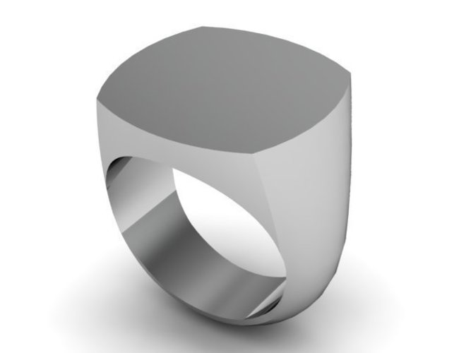 Square Style Signet Blank Ring 3D Print 137326