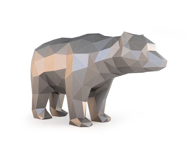 Low Poly Bear 3D Print 137400