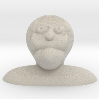 Small creepy old bald guy characature bust 3D Printing 13746