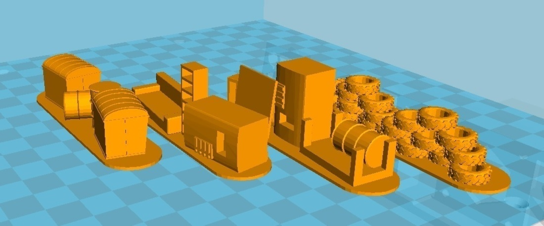 4 Barricades Post Apo, Set 1 - Wargame scenery 3D Print 137462