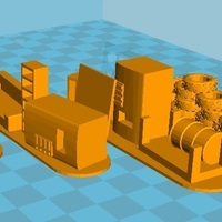 Small 4 Barricades Post Apo, Set 1 - Wargame scenery 3D Printing 137462