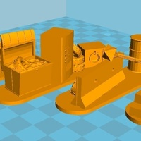 Small 4 Barricades Post Apo, Set 2 - Wargame scenery  3D Printing 137463