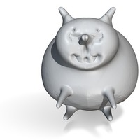 Small sitting fat cat 3D Printing 13771