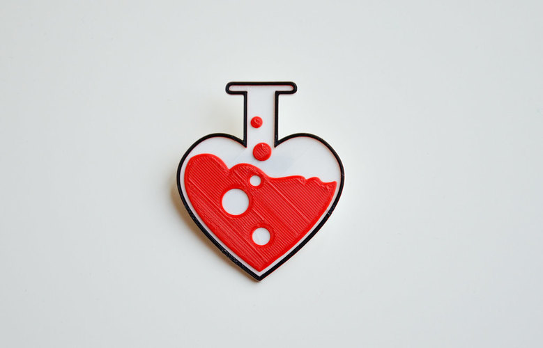 Love chemistry brooch/pin 3D Print 138057