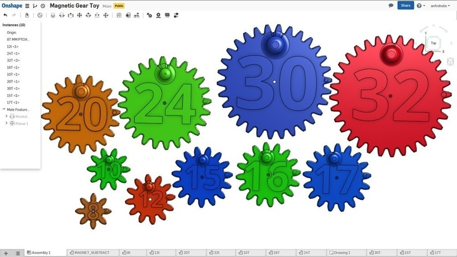 Magnetic Gear Toy 3D Print 138458