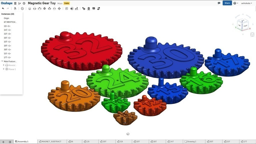 Magnetic Gear Toy 3D Print 138459