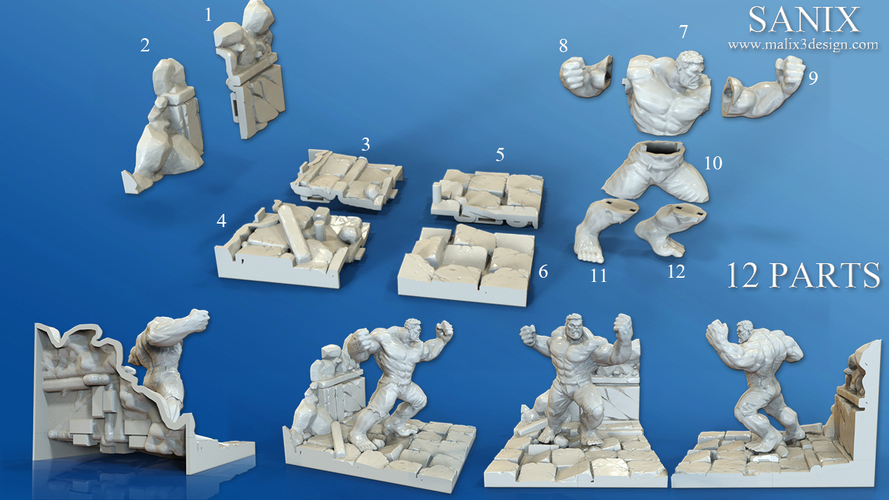 Avengers Scene- The Incredible Hulk  3d model for printing. 3D Print 138706