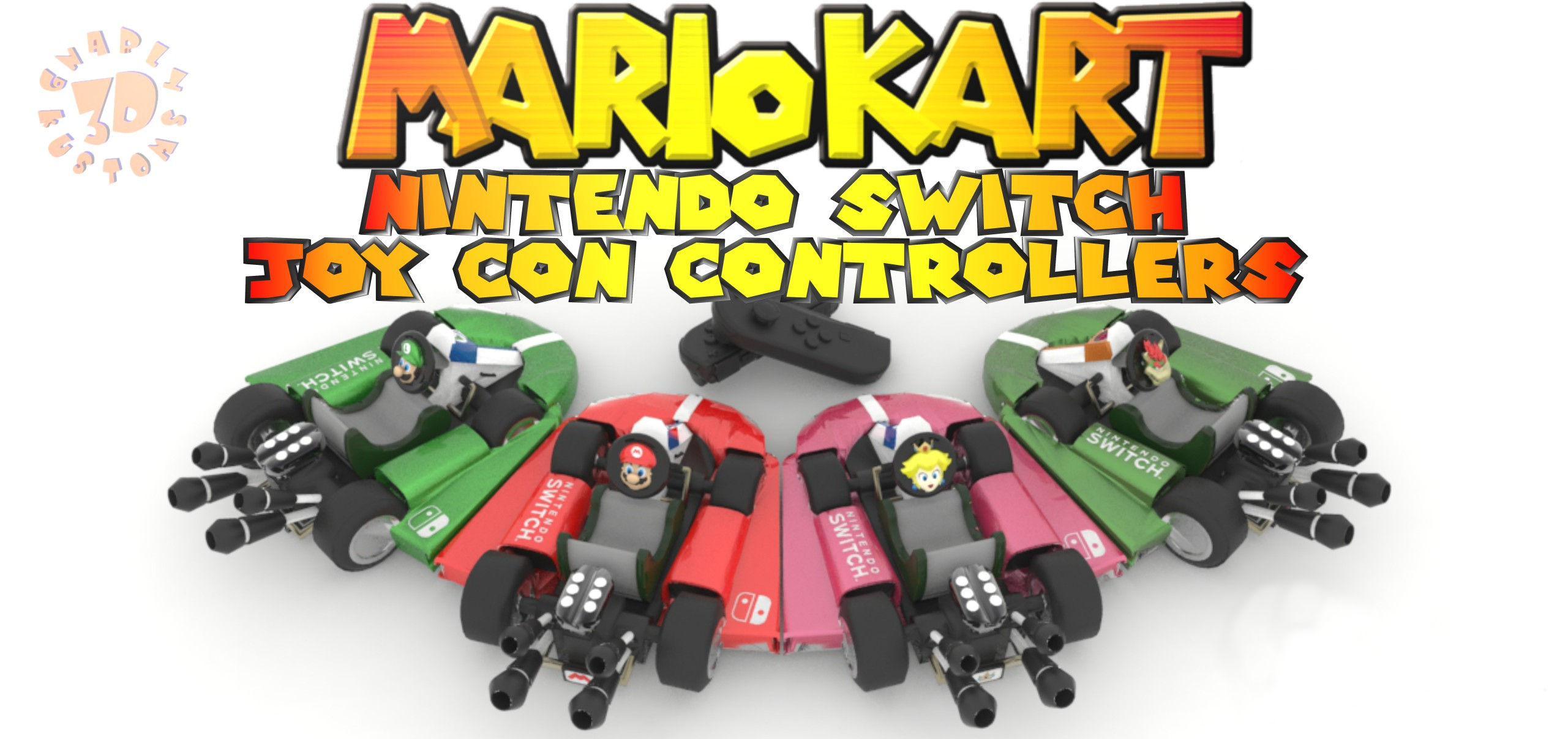Mario Kart Joy Con Controllers - #Nintendo Switch @ Pinshape
