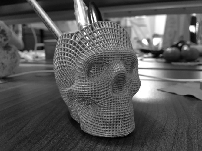 Wireframe Skull Pencil Holder (For The Love of Dog) 3D Print 138811