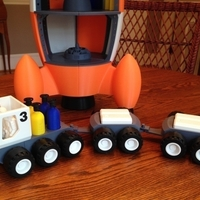 Small BENJAMIN'S LUNAR ROVER WITH TRAILERS AND ASTRONAUTS 3D Printing 139023