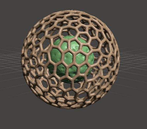 3D Printed Lunar Sphere Inside Bucky Ball By Prithvirajan