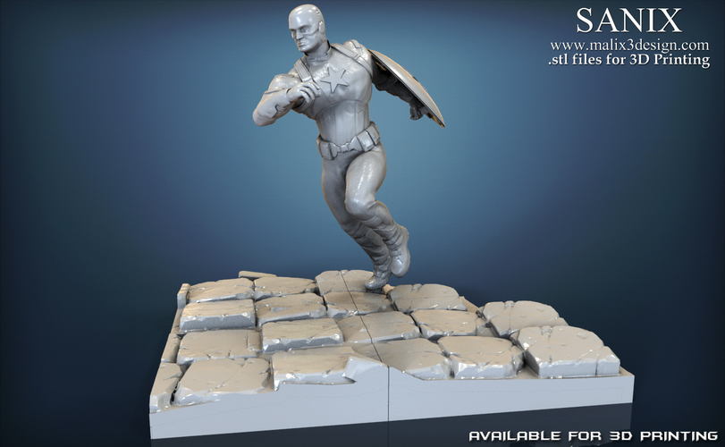 Avengers scene - Captain America 3D Printable Model  3D Print 139343