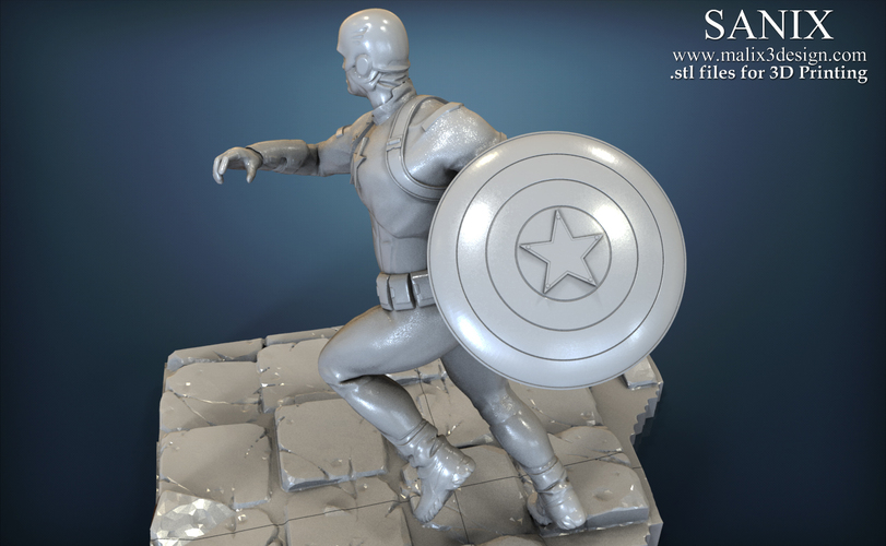 Avengers scene - Captain America 3D Printable Model  3D Print 139351