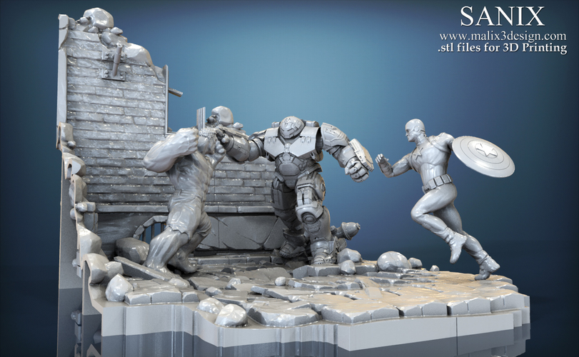Avengers scene - Captain America 3D Printable Model  3D Print 139355