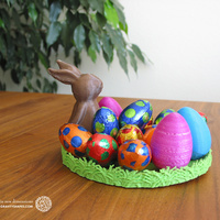 Small Easternest with Easter Bunny and Eggs 3D Printing 139374