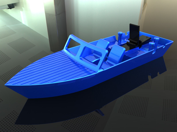 Medium Rubber Band Speed Boat 3D Printing 139419