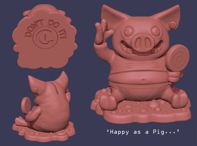 'Happy as a Pig' Piggy Bank 3D Print 140007