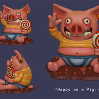 Small 'Happy as a Pig' Piggy Bank 3D Printing 140008
