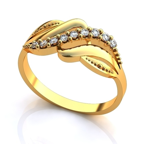 gold ring with diamonds 3D Print 140069