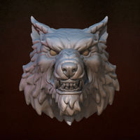 Small Wolf head 3D Printing 140287