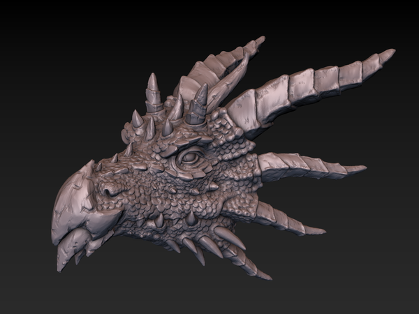 Medium Dragon head 3D Printing 140359