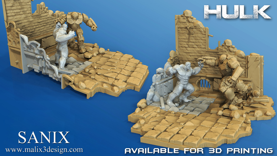 Avengers Scene- The Incredible Hulk  3d model for printing. 3D Print 140417