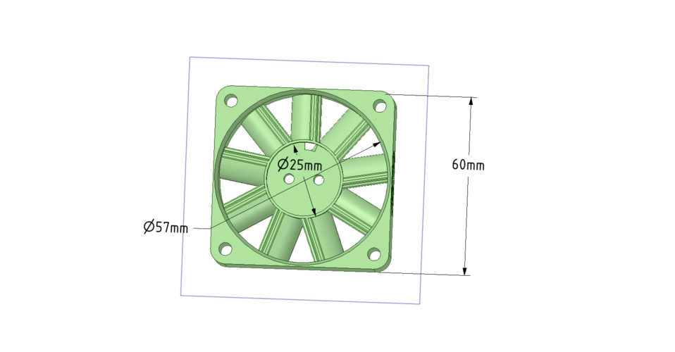 PcFanBoost Box - 60x60x19mm  fan conversion 3D Print 140570