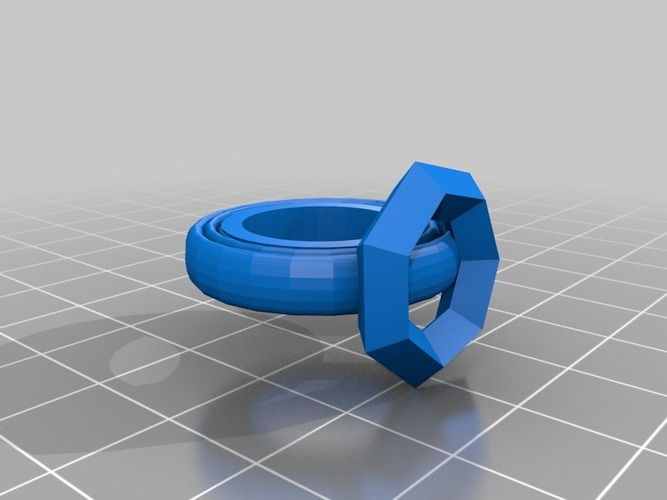 build a ring more realistic ring with gem two parts 3D Print 14063